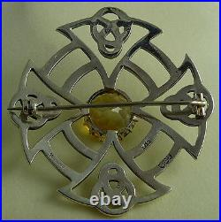 1955 Thomas Ebbutt Sterling Silver Scottish Citrine Brooch Pin Boxed Hallmarked
