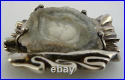 1975 Ola Gorie One Off Silver Brooch Pin Druzy Quartz Stone Scottish