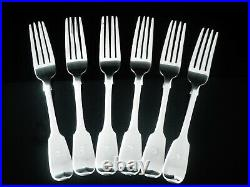 6 Antique Scottish Sterling Silver Dinner Table Forks, William Marshall 1858