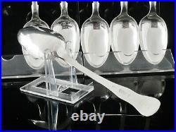 6 Scottish Antique Sterling Silver Dessert Spoons, CRESTED, Elder & Co 1835