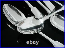 6 Scottish Antique Sterling Silver Serving Spoons, William Marshall 1857