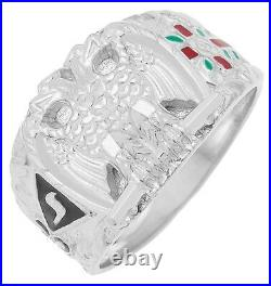 925 Sterling Silver or Vermeil Scottish Rite 32nd Degree Masonic Solid Back Ring