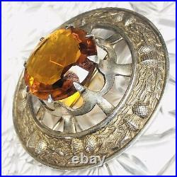 ANTIQUE STERLING SCOTTISH THISTLE Large CITRINE PIN MARKED GREAT BRITAIN BROOCH