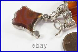 ANTIQUE VICTORIAN SCOTTISH SILVER & AGATE BRACELET with SHIELD PADLOCK CLASP c1880
