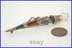 ANTIQUE VICTORIAN SCOTTISH SILVER AGATE SET DIRK / DAGGER BROOCH c1880