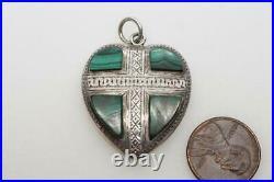 ANTIQUE VICTORIAN SCOTTISH SILVER & MALACHITE HEART PENDANT c1880
