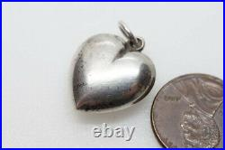 ANTIQUE VICTORIAN SCOTTISH SILVER MONTROSE LACE AGATE PUFFED HEART CHARM c1890