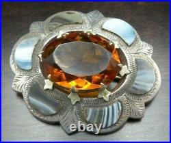 Antique 1860 Scottish Sterling Silver, Citrine & Montrose Agate Cairngorm Brooch