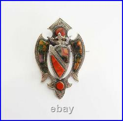 Antique 1875 agate sterling silver agate Scottish crown brooch pin Scotland