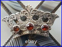 Antique 19thC Silver Scottish St Andrew's Cross Saltire Montrose Agate Brooch