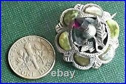 Antique Adie & Lovekin Scottish Style Kilt Pin Sterling Silver Iona Marble 1913