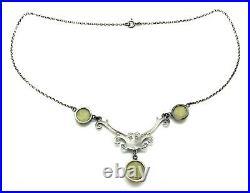 Antique Art Nouveau 1900 Scottish Sterling Silver Connemara Stone Drop Necklace