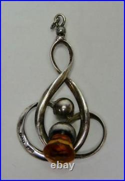 Antique Art Nouveau silver citrine glass Scottish thistle knot pendant Horner #8