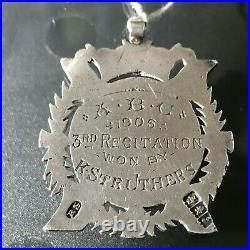 Antique Edwardian Sterling Silver Scottish Robert Burns Watch Fob Medal 1905