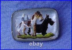 Antique Essex Crystal Wire Fox Scottish Terrier Sterling Silver Pin Scotty Dog
