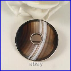 Antique Jewellery Sterling Silver Scottish Agate Brooch Pin Vintage Jewelry