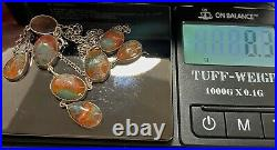 Antique Moss Agate Scottish Cabochons STERLING SILVER Festoon Necklace 16