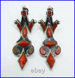 Antique Pair Scottish Red Agate Sterling Silver Drop Earrings