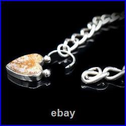 Antique Scottish Agate Heart Padlock Sterling Silver Bracelet Victorian