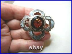 Antique Scottish Citrine & Banded Agate Sterling Silver Brooch Sn584