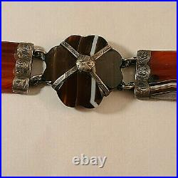Antique Scottish Engraved Silver and Carved Agate 7 1/8 Bracelet