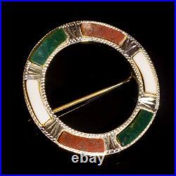 Antique Scottish Hardstone Pebble 925 Sterling Silver Circle Brooch