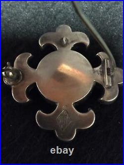 Antique Scottish Silver and Grey Agate 2 1/4 Brooch