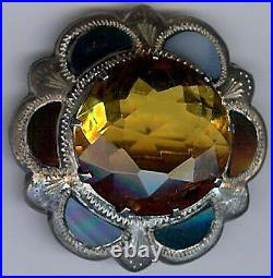 Antique Scottish Sterling Silver Agate & Faceted Topaz Glass Pin