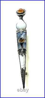 Antique Scottish Sterling Silver Agate Fire Opal Dagger Kilt Pin C1909 Engraved