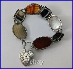 Antique Scottish Sterling Silver & Agate Padlock Bracelet