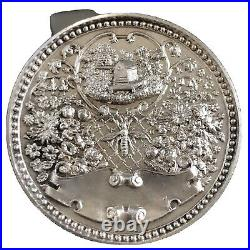 Antique Scottish Sterling Silver Bee Keepers' Watch Fob Medal 1897
