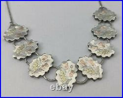 Antique Scottish Sterling Silver Necklace Applied Rose & Yellow Gold Aesthetic