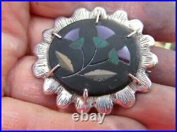 Antique Scottish thistle Inlay Amethyst Malachite Sterling Silver Brooch