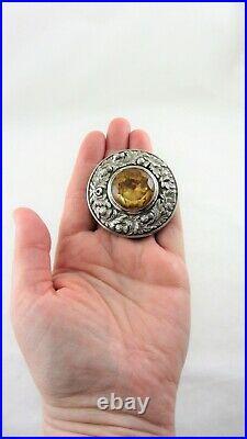 Antique VICTORIAN SCOTTISH STERLING SILVER CITRINE PLAID BROOCH PIN