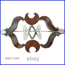 Antique VICTORIAN c1850 S/Silver'MARY QUEEN of SCOTS' Monogram PEBBLE BROOCH