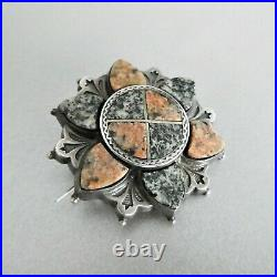 Antique VICTORIAN c1860 S/Silver Scottish ABERDEEN GRANITE Saltire Flower BROOCH