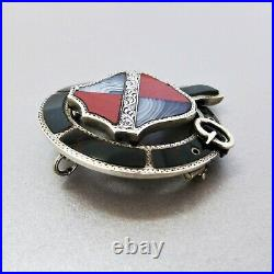 Antique VICTORIAN c1870 Sterling Silver SCOTTISH Shield and Garter PEBBLE BROOCH