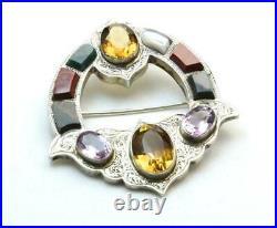 Antique Victorian 1900s Scottish Cairngorm Agate Silver Pin Brooch Kilt Scarf