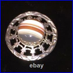 Antique Victorian Banded Agate Sterling Silver Scottish Brooch Chased Engraved