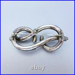 Antique Victorian Era Sterling Silver Large LOVERS KNOT SCOTTISH PEBBLE BROOCH