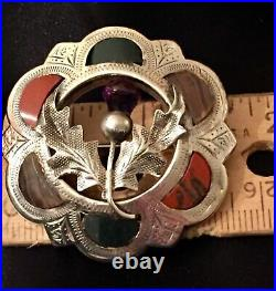 Antique Victorian Scottish Agate Blood Stone Sterling Silver Thistle Brooch Pin