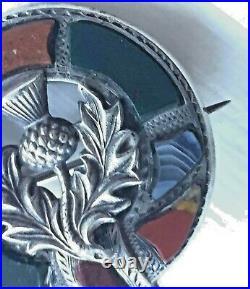 Antique Victorian Scottish Agate Bloodstone Thistle Garter Pebble Brooch c1890