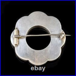 Antique Victorian Scottish Agate Brooch Sterling Silver Circa 1860