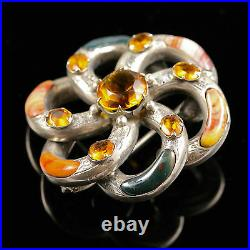 Antique Victorian Scottish Agate Large Brooch Sterling Silver