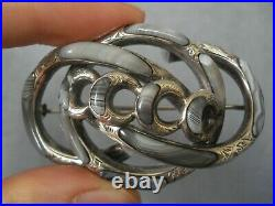 Antique Victorian Scottish Agate Silver Brooch