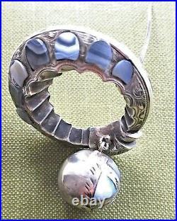 Antique Victorian Scottish Agate Sterling Pebble Brooch c1890 Rare Design Unique