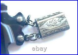 Antique Victorian Scottish Agate Sterling Silver Pebble Bracelet c 1890 Rare