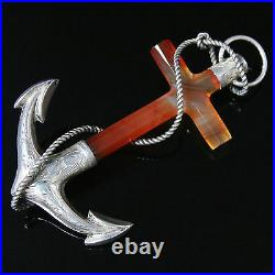 Antique Victorian Scottish Anchor Brooch Large Set In Silver