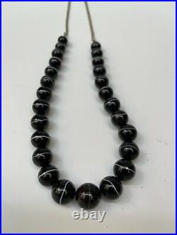 Antique Victorian Scottish Black Sulimani Banded Agate Bead Necklace 116g