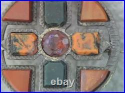 Antique Victorian Scottish Bloodstone Moss Agate Cross Kilt Pin Gorgeous